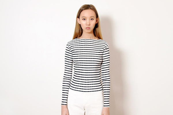 Pleated Stripe Boat-Neck Top (2colours)