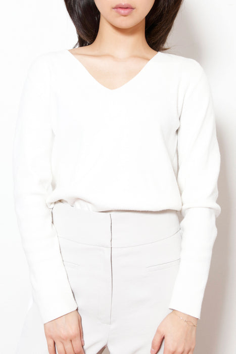 V-Neck Cashmere Mix Knit Top (White)