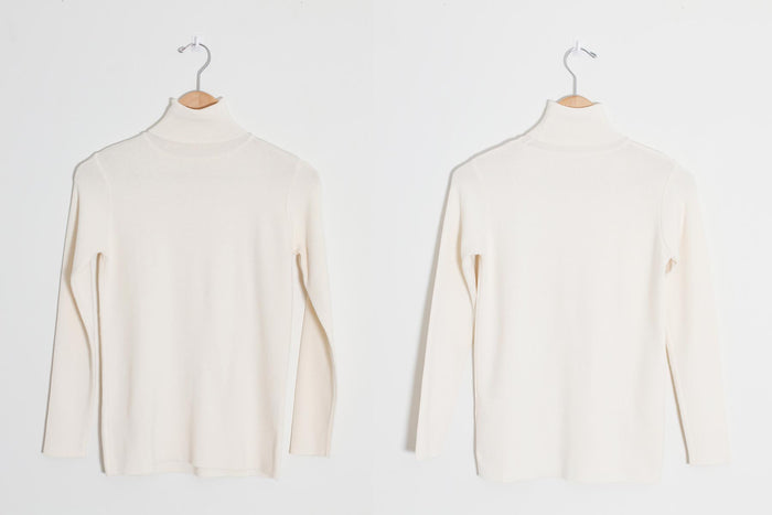 Simple Turtleneck Knit Top (Ivory)