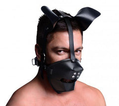 Pup Puppy Play Hood and Breathable Ball Gag (Adjustable Strap) - Black - Diddleworld.com - 1