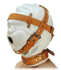 Total Sensory Deprivation White Leather Hood - Small/Medium - Diddleworld