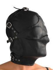 Asylum Leather Hood with Removable Blindfold and Muzzle- ML - Diddleworld