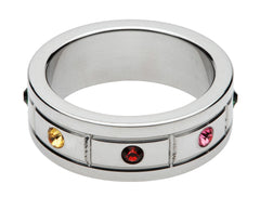 Multi-Colored Gem Accented Cock Ring- 1.95 Inch - Diddleworld.com - 1