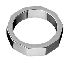 Stainless Steel Hex Nut Cock Ring- 2 Inch - Diddleworld.com