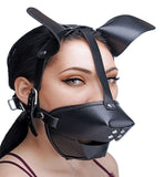 Pup Puppy Play Hood and Breathable Ball Gag (Adjustable Strap) - Black - Diddleworld.com - 2