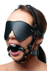 Blindfold Leather Harness with Ball Gag - Diddleworld.com - 1
