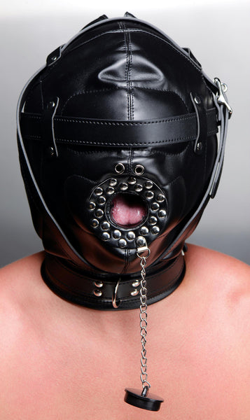 Sensory Deprivation Hood with Open Mouth Gag - Diddleworld.com