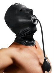 Rubber Hood with Built-in Inflatable Gag - Diddleworld