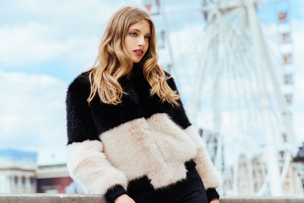 sustainable faux fur jacket