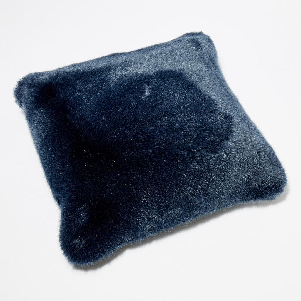 BLUE BERRY PILLOW - Navy Blue faux fur