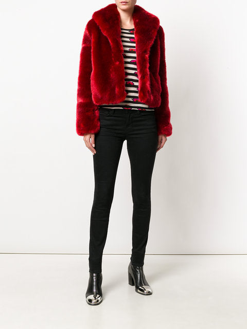 ERELLE - Red Faux Fur jacket