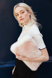 CELINE - Powder Pink Faux Fur Clutch