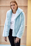 ANNA - Sky Blue Faux Fur Coat