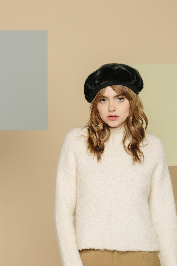 AGNES - Black Faux Fur Beret