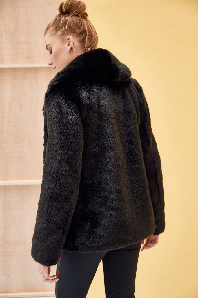 ANNA - Black Faux Fur Coat