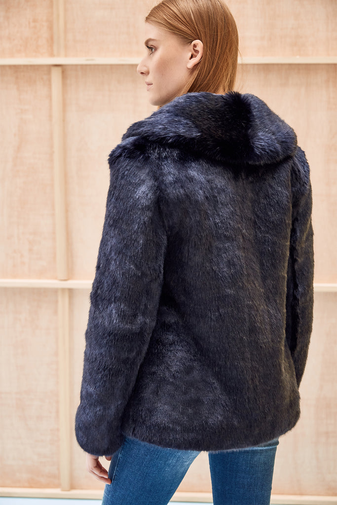 ANNA - Navy Faux Fur Coat
