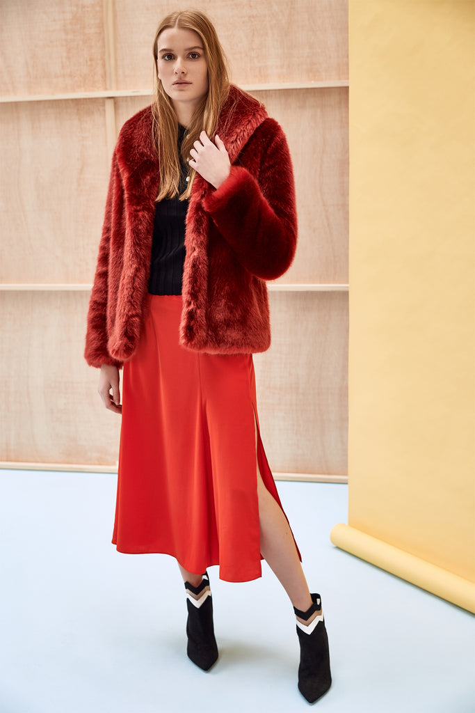 ANNA - Red Faux Fur Coat