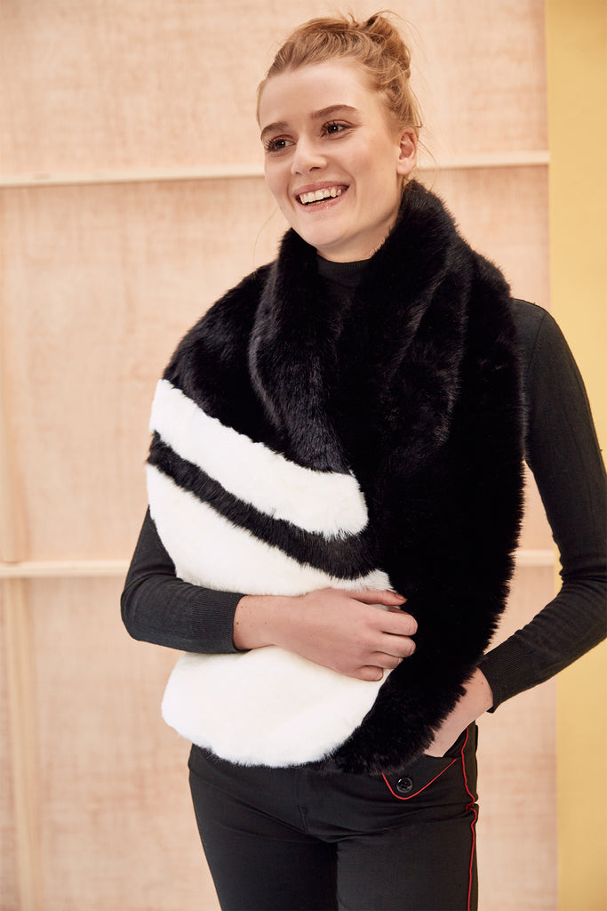 CARA - Black & White Faux Fur Scarf