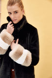 CARENE - Black Beige Faux Fur coat