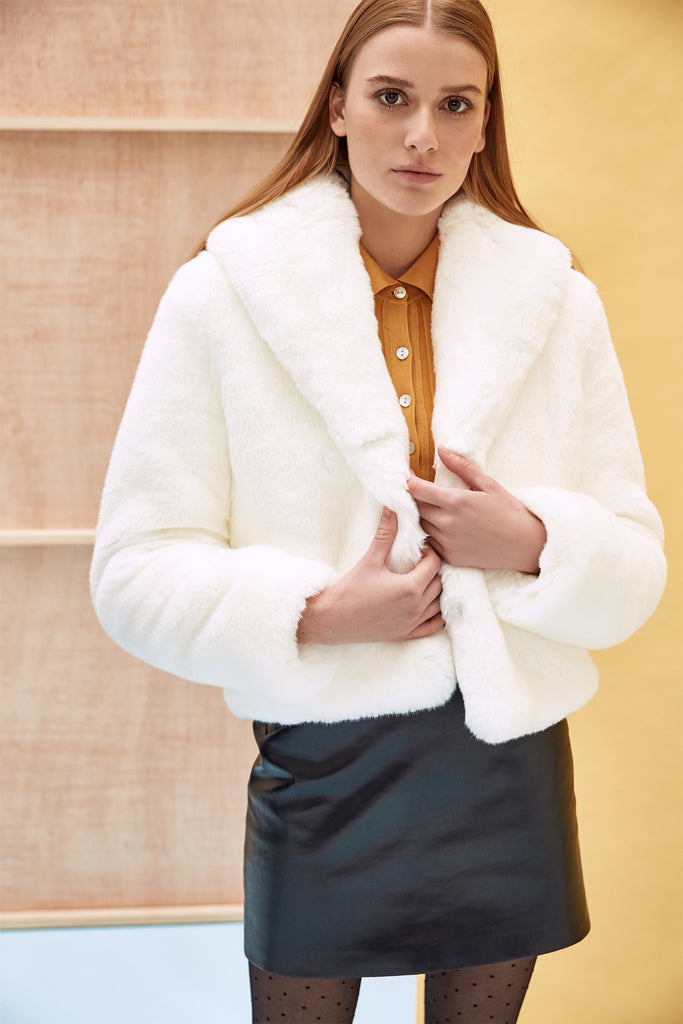 ERELLE - White Faux Fur Jacket