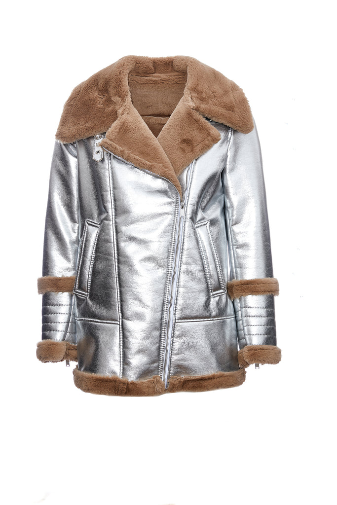 JANE - Silver Shearling Vegan Fur Coat