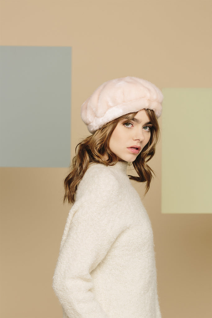 JULIA - Pink Faux Fur Beret