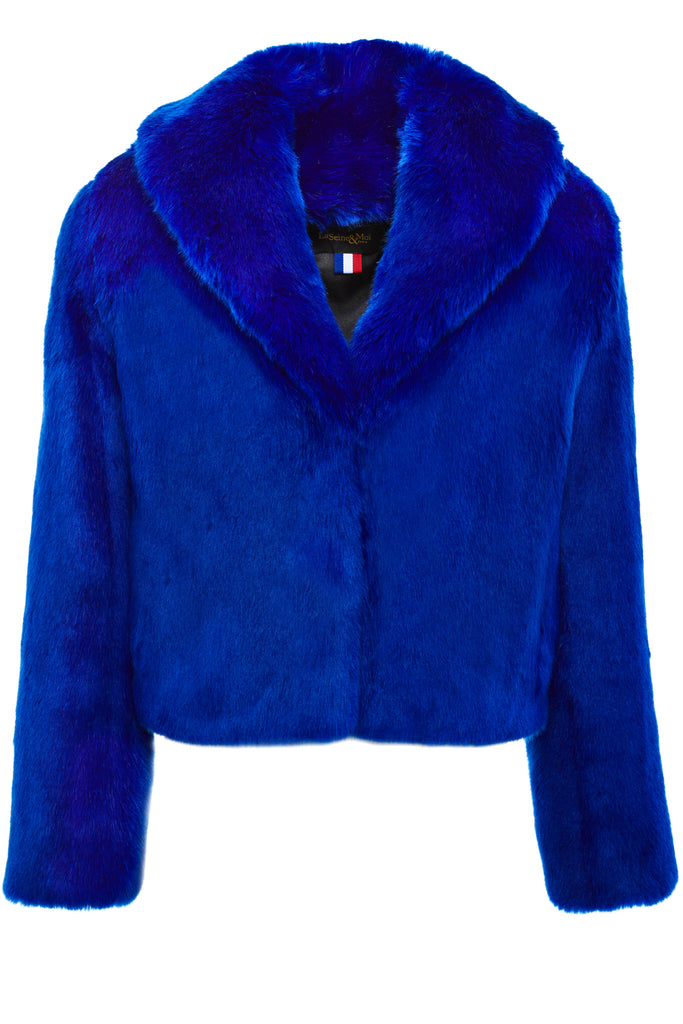 ERELLE - Royal Blue Faux Fur jacket