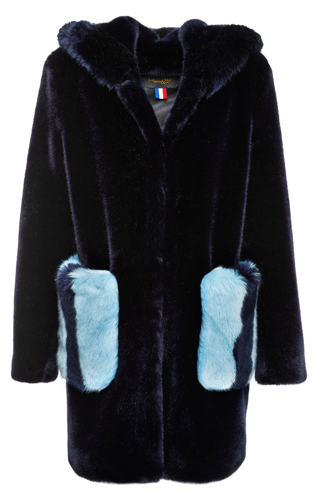 MIRA - Midnight Blue Faux Fur coat