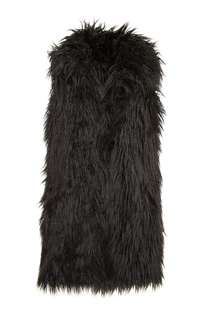 ISIS - Black Faux Fur vest