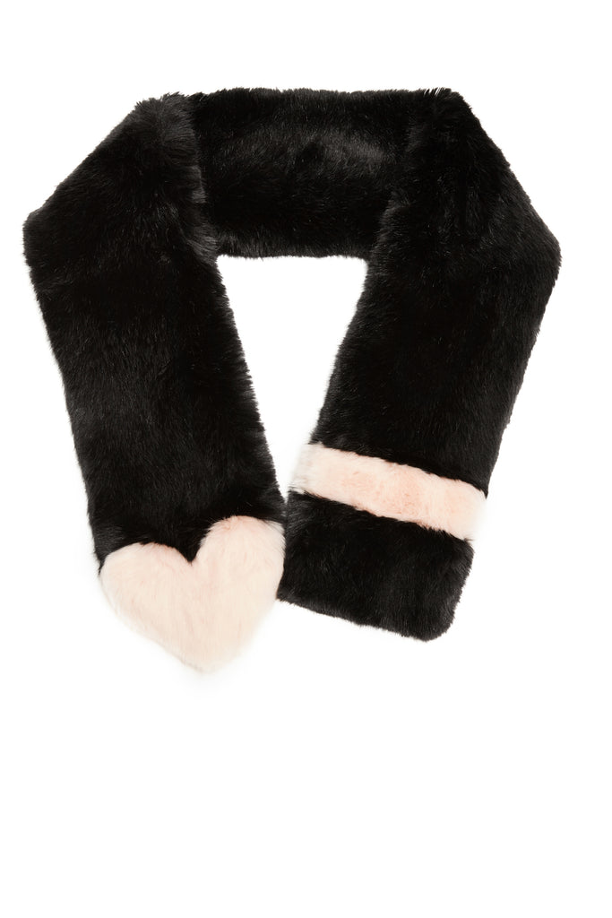 AIMEE - Black Faux Fur Scarf