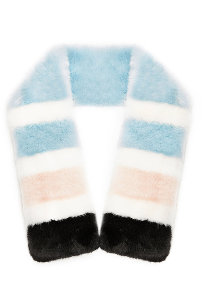 STELLA - Twister Blue Heaven Faux Fur Scarf