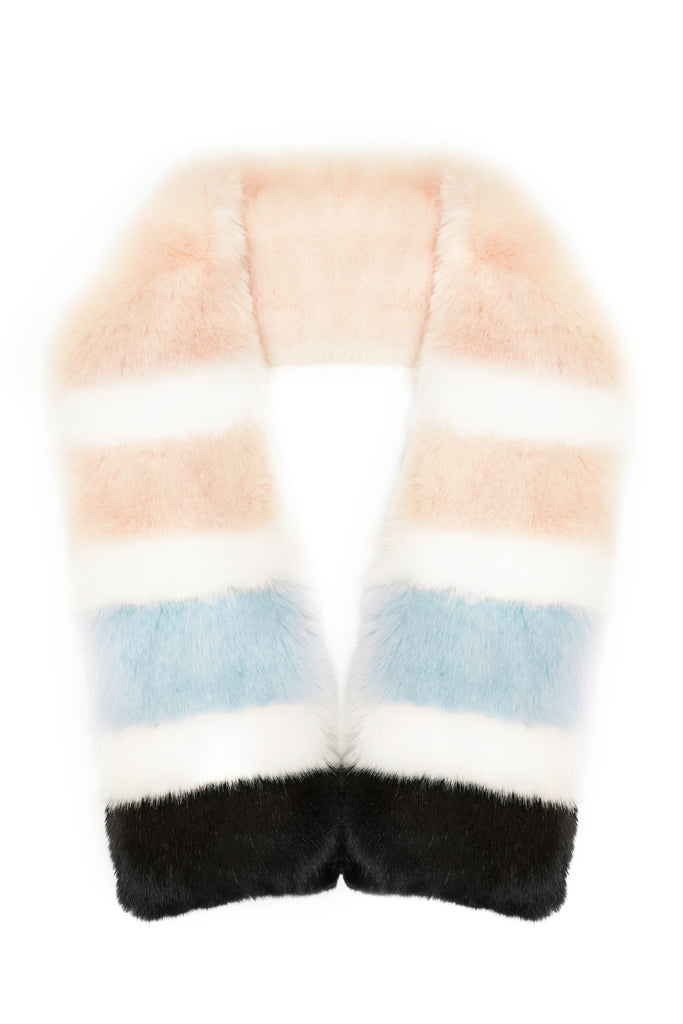 STELLA - Twister Powder Pink Faux Fur Scarf