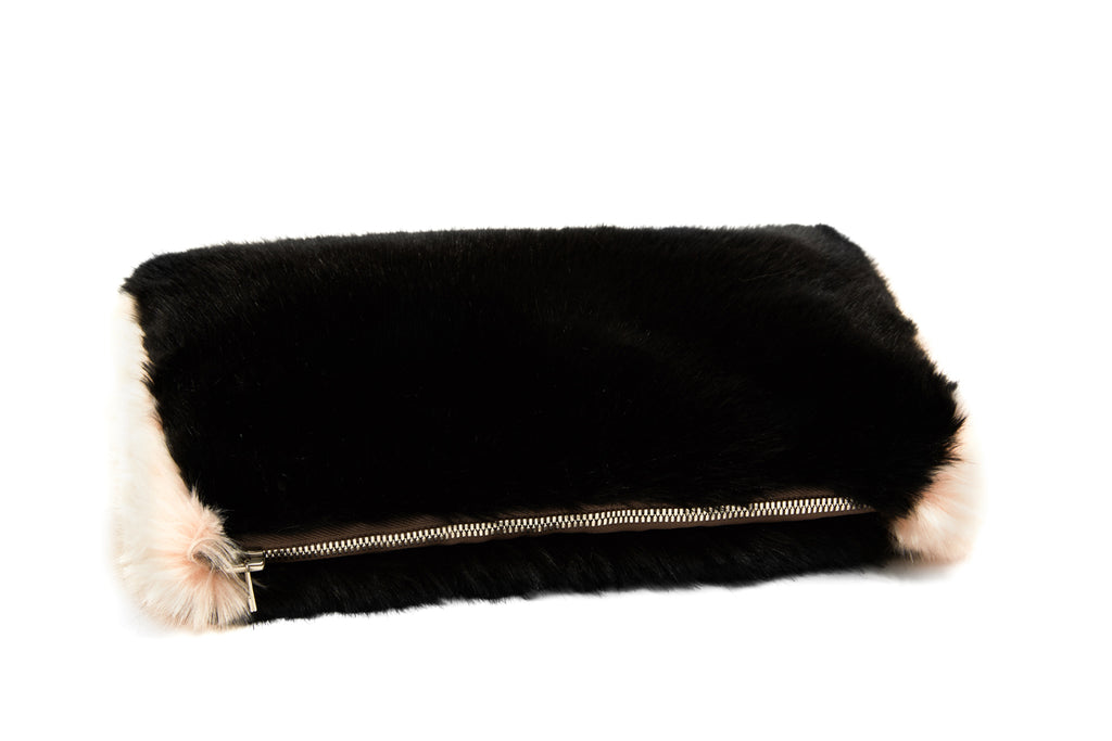 CELINE - Black Faux Fur Clutch
