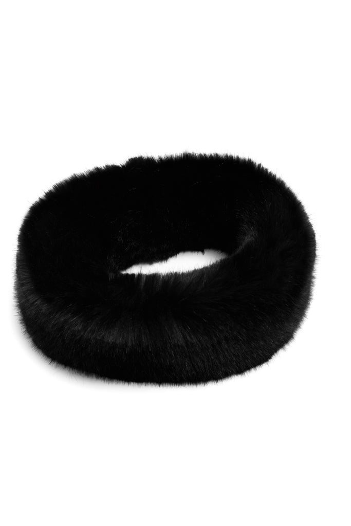 CLAVA - Black Faux Fur Headband