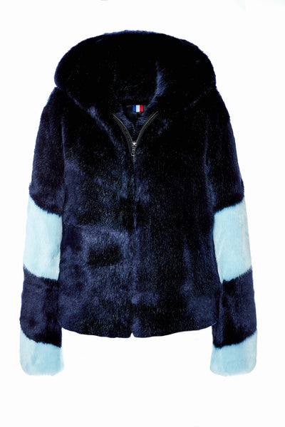 LISA - Navy Blue and Sky Blue Faux Fur Bomber