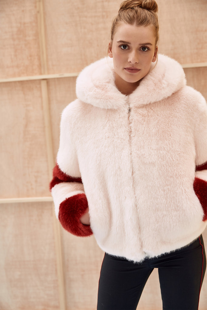 LISA - Powder Pink and Red Faux Fur Bomber