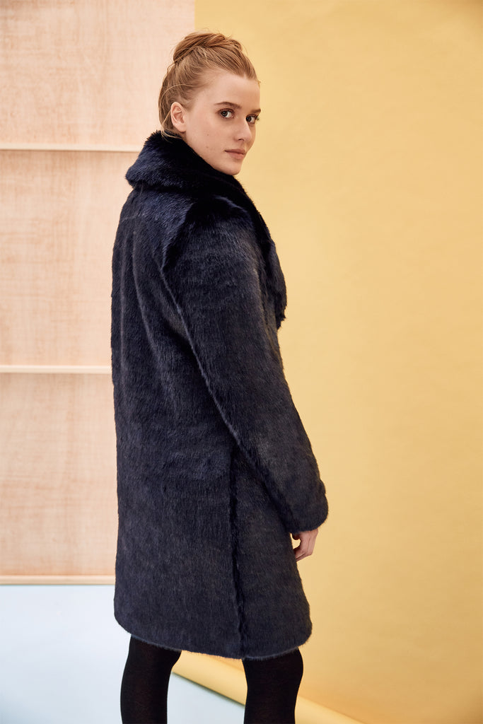LOUVE - Navy Blue Faux Fur Coat