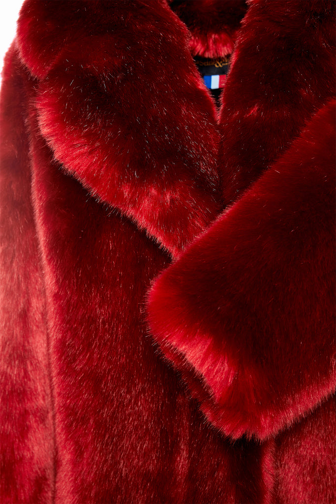 LOUVE - Red Faux Fur Coat