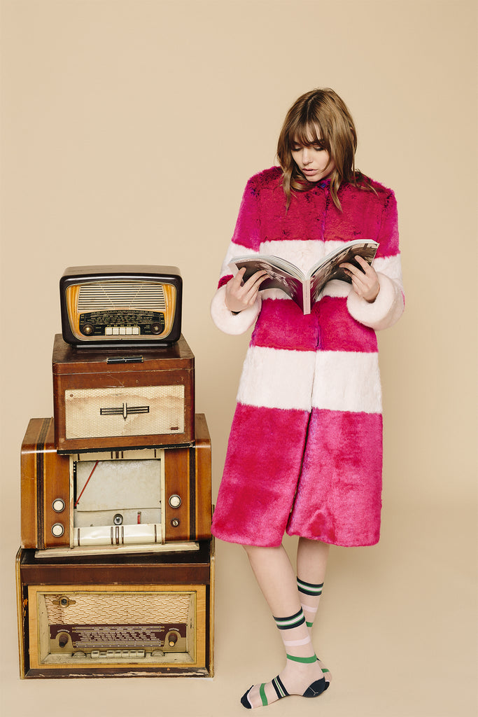 MARINE - Fushia & Powder Pink Faux Fur Coat
