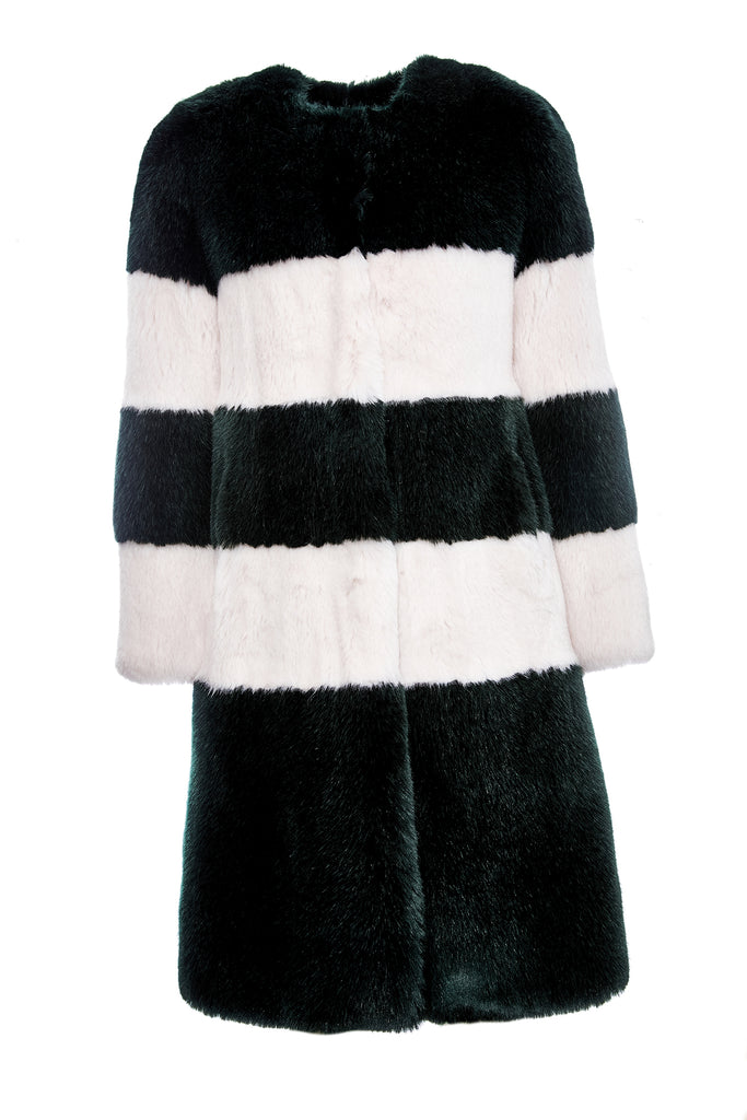 MARINE - Green & Powder Pink Faux Fur Coat