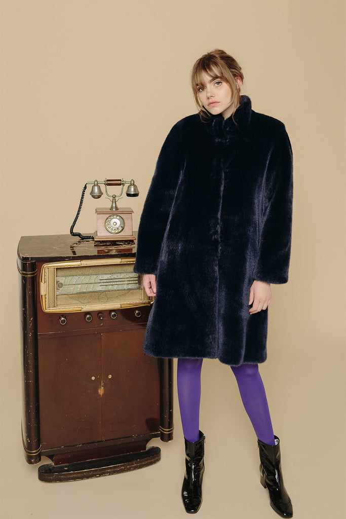 MAYA - Navy Faux Fur Coat