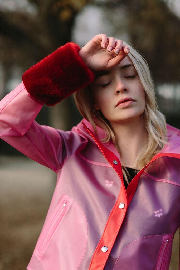 OLIVIA - Pink Raincoat with Red Faux fur