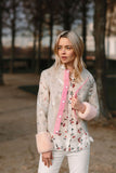 OLIVIA - White Raincoat with Pink Faux Fur