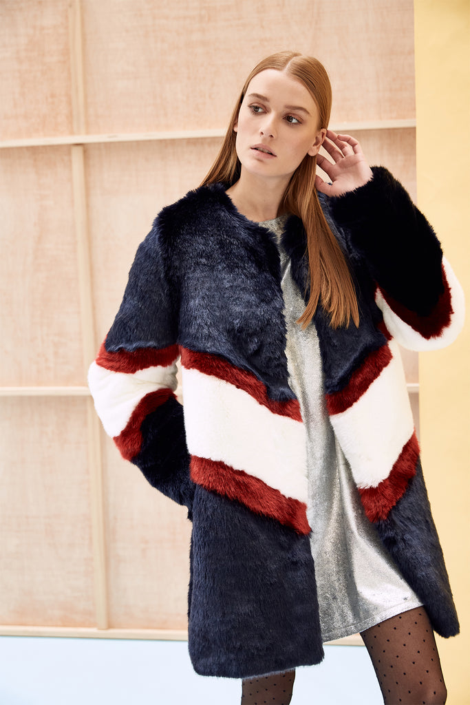 ORA - Navy Blue White and Red Faux Fur Coat