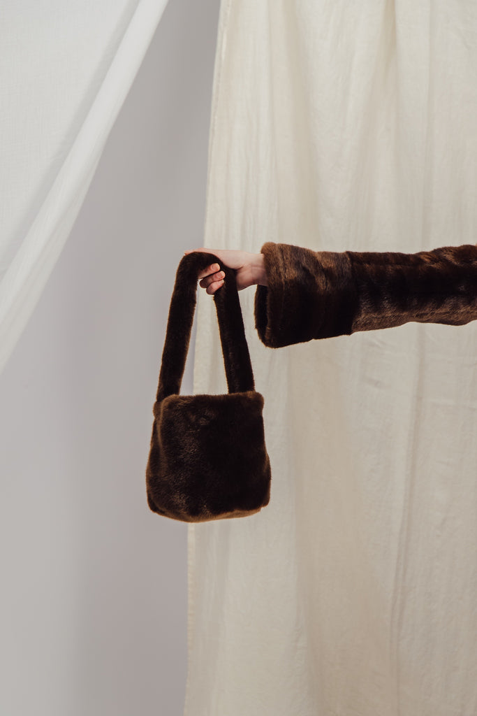 BIRKIN - Brown Faux Fur Bucket Bag