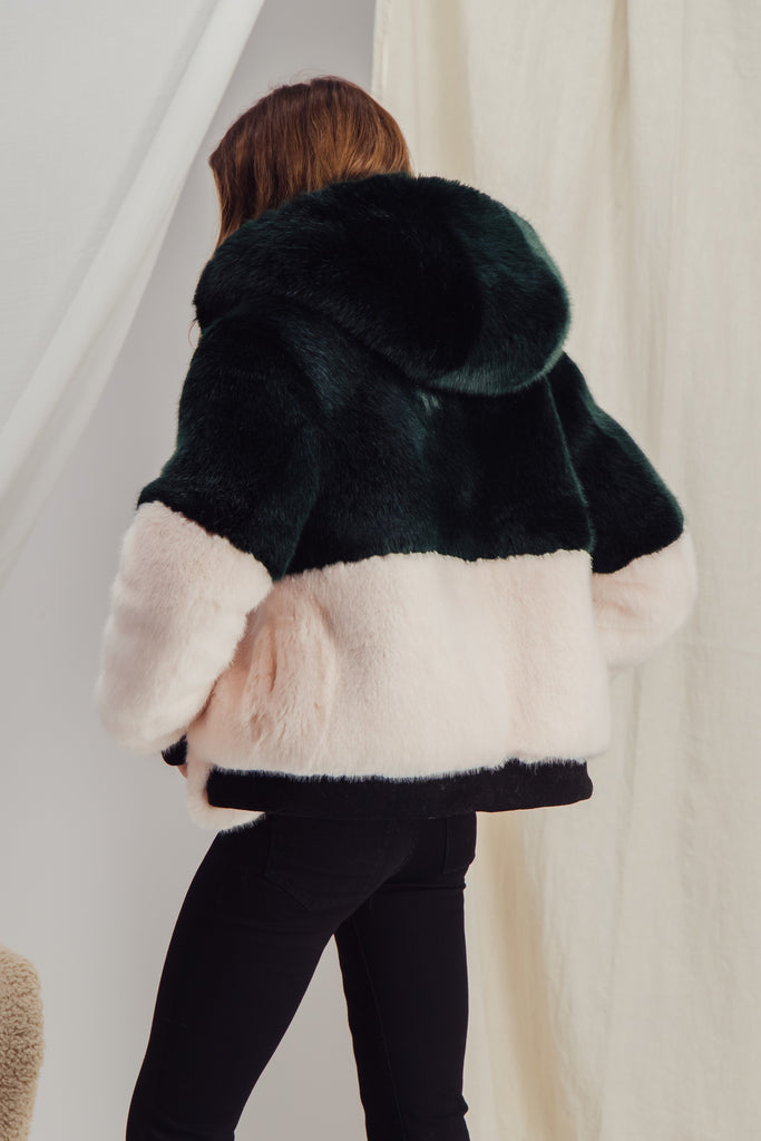 HELENE - Green and Pink Bomber Faux Fur