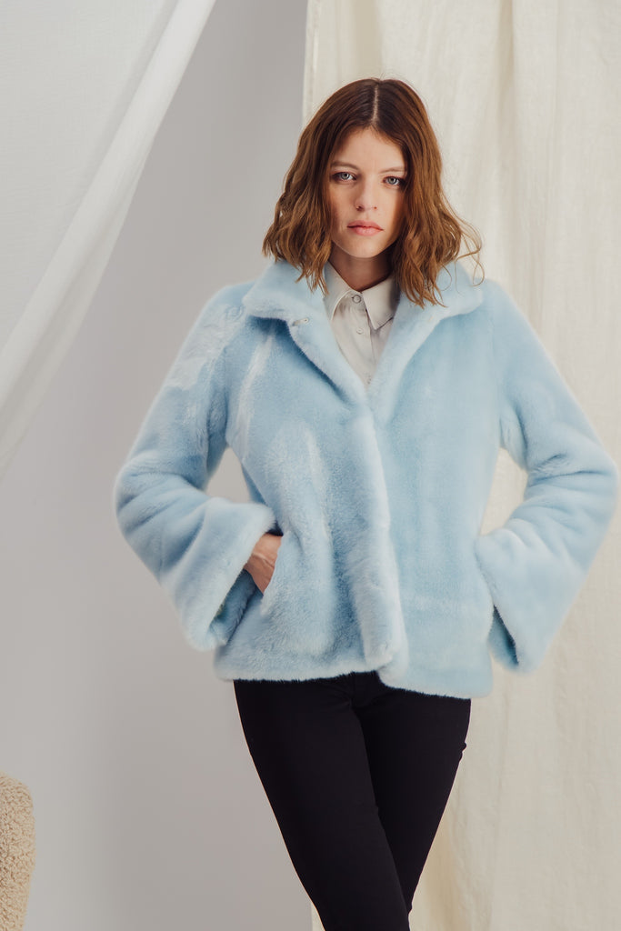 ANAELLE - Sky blue Faux Fur Jacket