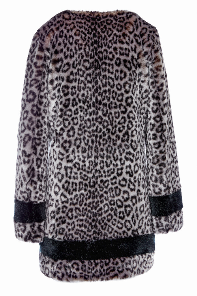 PETRA - Leopard Grey Faux Fur Coat