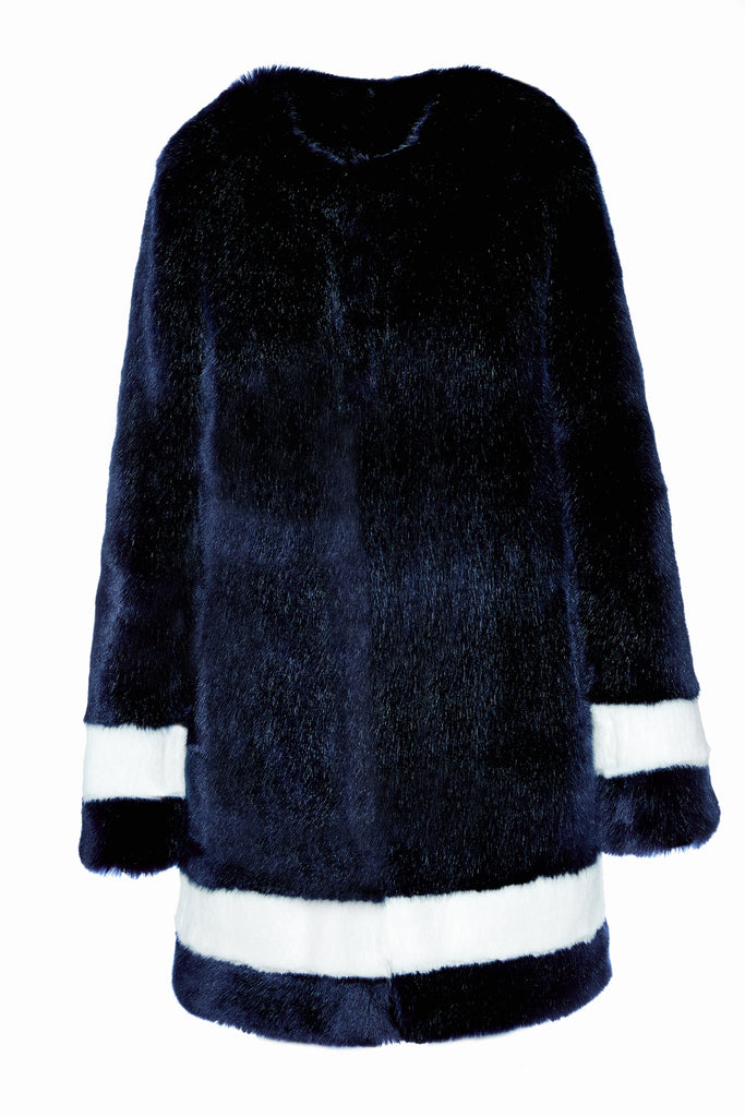 PETRA - Navy Blue and White Faux Fur Coat
