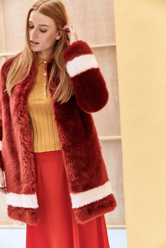 PETRA - Red and Powder Pink Faux Fur Coat